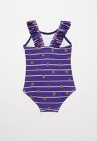 POP CANDY - Strawberry stripe one piece swimsuit - navy