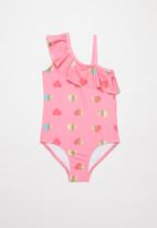 POP CANDY - Foil hearts off the shoulder one piece swimsuit - pink