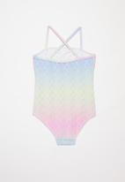 POP CANDY - Ombre mermaid print one piece frill swimsuit - multi