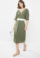 edit - Linen loose fit tunic midi - khaki