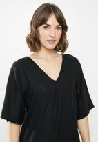 edit - Linen loose fit tunic midi - black