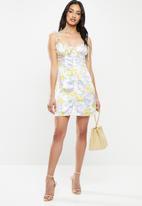 Glamorous - Petite sateen mini dress with shoulder ties - multi