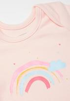 POP CANDY - Girls 2 pack clouds babygrows - grey & light pink