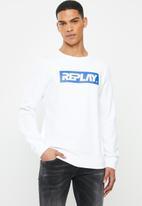 Replay - White printed fleece crew - white