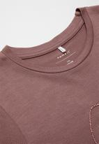 name it - Fanessa short sleeve oversize top - rose taupe