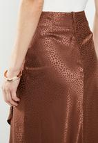 MILLA - Satin draped skirt - brown