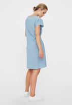 Vero Moda - Miley short sleeve tie waist loose dress - blue
