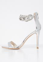 Public Desire - Iced out embellished ankle chain heel - silver