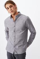 Cotton On - Linen cotton long sleeve shirt - charcoal
