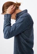 Cotton On - Linen cotton long sleeve shirt - indigo