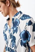 Cotton On - Short sleeve resort shirt - blue & white