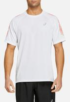 Asics Tiger - Icon short sleeve top - white & coral