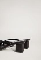 MANGO - Ra leather heel - black