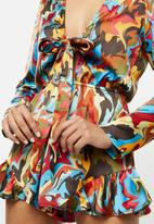 Glamorous - Marble long sleeve playsuit - multi