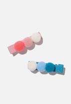 Cotton On - Hair clip - pom pom - pink & blue