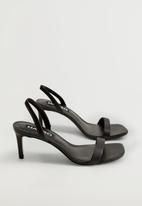 MANGO - Cora leather heel - black