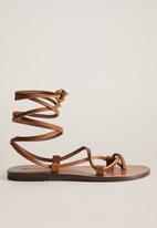 MANGO - Ibiza leather sandal - medium brown