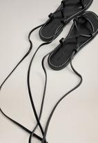 MANGO - Ibiza leather sandal - black