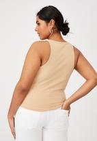 Cotton On - Curve turnback tank - warm stone