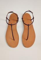 MANGO - Formen leather sandal - dark red