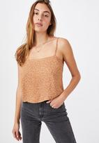 Cotton On - Astrid straight neck cropped cami - brown
