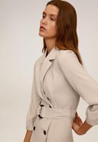 MANGO - Dress tuxedo - beige