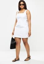 Glamorous - Plus square neck lace up dress - white