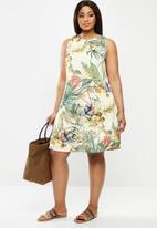 Glamorous - Plus tie back sleeveless shift dress - multi