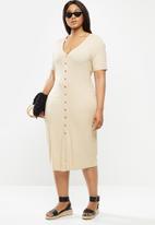 Glamorous - Plus button through rib dress - stone