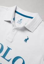 POLO - Boys Justin printed short sleeve golfer - white