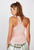 Cotton On - Lace racer back tank - cameo pink marle