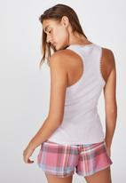Cotton On - Lace racer back tank - soft lilac marle