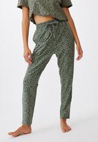 Cotton On - The lounge pant - micro leopard basil green