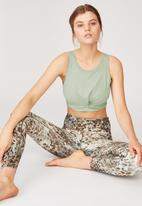 Cotton On - Twist front crop tank -washed aloe