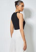 Superbalist - 2 pack rib hi neck cutaway bodysuit - black & pink