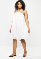Blake - Pleated trapeze mini dress - white