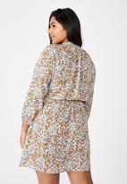 Cotton On - Curve laura mini dress - emily floral paisley white/gold sparkle