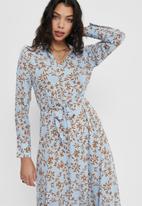 ONLY - Lalma poly long sleeve dress - blue