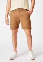 Cotton On - Washed chino short - biscuit