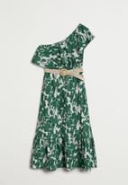 MANGO - Gloria dress - green & white