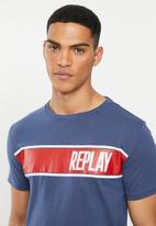 Replay - Black side printed logo tee - navy