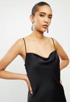 VELVET - Satin cowl midi slip dress - black