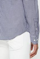 Nautica - Gingham plaid shirt - navy & white