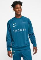 Nike - Nike sportswear swoosh crew sweatshirt - blue force & barely volt