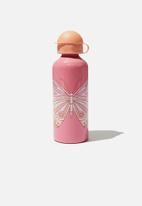 Cotton On - Aluminium drink bottle - rose butterfly