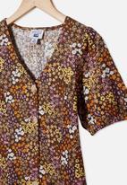 Free by Cotton On - Luna short sleeve dress - phantom & floral fields