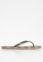 POLO - Kayla stripe flip flop - fatigue