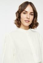 edit - Rope trim mandarin collar linen dress - milk