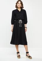 edit - Rope trim mandarin collar Linen dress - black