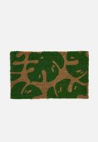 Linen House - Monsteria door mat - neutral & green